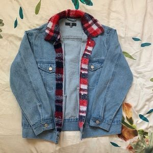 Missguided Plaid Lined Oversized Denim Jacket